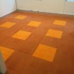 Orange carpet tiles